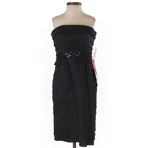 Tiered Strapless Black Dress